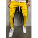 Mens Hip Hop Style Colorblocked Tape Side Drawstring Waist Fitness Skinny Pencil Pants