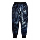 New Trendy 3D Printed Elastic Waist Mens Gathered Cuff Cotton Navy Track Pants