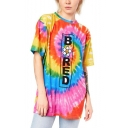 New Stylish Floral Letter Bored Printed Tie Dye 3D Print Round Neck Short Sleeve Longline T-Shirt