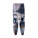 Popular Comic Figure Printed Drawstring Waist Cotton Loose Sport Sweatpants