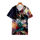 3D Comic Figure Print V-Neck Short Sleeve Button-Front Unisex Baseball Shirt