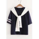 Girls Fashion Letter Tied Front Round Neck Cotton Loose T-Shirt