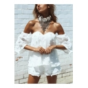 Sexy Off The Shoulder Floral Embellished Short Sleeve Blouse with Loose Shorts Co-ords