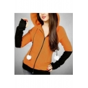 Cat Pattern Color Block Long Sleeve Zip Up Slim Hooded Coat
