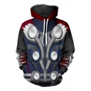 3D Cosplay Costume Pullover Loose Casual Blue Drawstring Hoodie