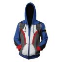 Overwatch Trendy Cosplay Costume Casual Loose Long Sleeve Zip Up Blue Hoodie