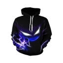 Cool Unique Abstract Colorful 3D Printed Unisex Sport Casual Black Hoodie