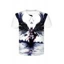 Black Wings Angel Cool 3D Printed Basic Short Sleeve White T-Shirt