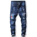 Fashion Ink Dot Printed Wear Patchwork Men Dark Blue Regular Fit Jeans