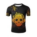 Funny Earphone Skull Printed Summer Mens Short Sleeve Black T-Shirt