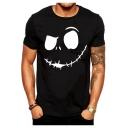 Evil Smile Face Print Summer Casual Basic Short Sleeve T-Shirt