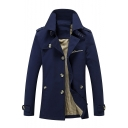 Trendy Notched Lapel Collar Button Closure Epaulets Men's Plain Trench Coat