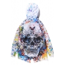 Hip Hop White Loose 3D Painting Skull Print Zipper Hooded Longline Windbreaker Coat
