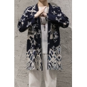 Guys Chinese Style Dragon Printed Long Sleeves Casual Navy Cardigan Coat
