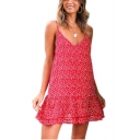 Summer Womens New Fashion Red Floral Printed V-Neck Ruffle Hem Mini Slip Dress