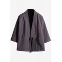 Mens Trendy Chinese Style Plain Welt Pockets Tied Waist Three-Quarter Sleeves Loose Cardigan Kimono Shirt Coat