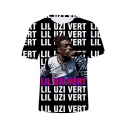 Popular American Rapper Portrait Allover Letter Print Streetwear T-Shirt