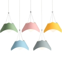 1-Light Tapered Suspended Light Nordic Style Modern Pendant Lighting for Kids with Colorful Metal Shade