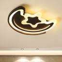 Acrylic Shade Ceiling Fixture with Moon and Star Black/White LED Flush Mount Light for Nursing Room