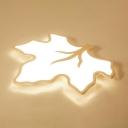 Coffee/White Maple Leaf Indoor Lighting Acrylic Energy Saving LED Flush Mount Lighting for Nursing Room