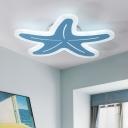 Cute Starfish LED Ceiling Fixture Cartoon Nordic Style Kindergarten Blue/Pink Acrylic Flush Mount
