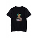 American Rapper Funny Portrait Printed Basic Short Sleeve Round Neck T-Shirt