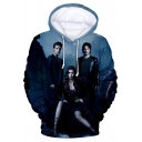 Fashion 3D Character Printed Long Sleeve Regular Fit Blue Drawstring Hoodie