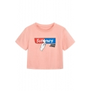 Funny Paper Letter Printed Pink Short Sleeve Round Neck Cropped T-Shirt