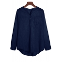 Simple Plain V-Neck Long Sleeve Casual Loose Pullover Cotton and Linen Blouse