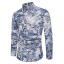 Unique Stylish Floral Bird Printed Mens Slim Fitted Light Blue Linen Shirt