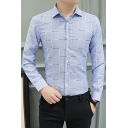 Men's Fashion Check Printed Long Sleeve Slim Fit Button-Up Business Shirt