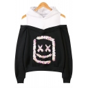 Marshmello Fashion Sequined Square Smile Face Cold Shoulder Long Sleeve Pullover Hoodie