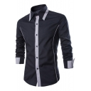 Men's Stylish Colorblock Patchwork Long Sleeve Casual Button-Up Shirt