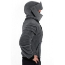 Men's Retro Unique Elbow Pad Long Sleeve Drawstring Fitted Knight Hoodie