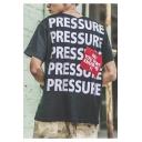 Street Letter PRESSURE Printed Hip Hop Fashion Cotton Loose T-Shirt