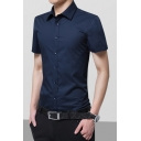 Mens New Stylish Simple Plain Short Sleeve Formal Button-Front Dress Shirt