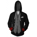 Persona 3D Printed Comic Cosplay Costume Long Sleeve Full Zip Black Hoodie