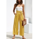Womens Summer Fashion Simple Plain Tied Waist Casual Loose Wide-Leg Pants