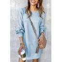 New Stylish Simple Plain Long Sleeve Round Neck Mini Shift Dress for Women