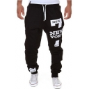 New Stylish Cool Number 7 Letter NEW YORK Print Drawstring Waist Casual Cotton Black Track Pants