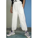 Street Style Basic Simple Plain Elastic Waist Gathered Cuff Unisex Hip Hop Track Pants