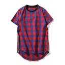 Cool Unique Plaid Printed Zip Embellished Side Dipped Hem Mens Street Fashion Short Sleeve T-Shirt