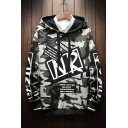 Mens Street Cool Letter NR Classic Camo Printed Long Sleeve Casual Hoodie