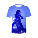 3D Game Figure Pattern Basic Short Sleeve Round Neck Unisex Casual T-Shirt