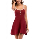 Womens Fashion Button-Embellished Front Simple Plain Mini A-Line Knit Cami Dress