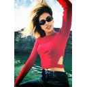 Chic Hollow Out Round Neck Long Sleeve Cropped Pullover Sweater