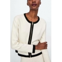 Zip Front Contrast Trim Round Neck Long Sleeve Crop Cardigan