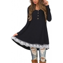 Button Front Round Neck Long Sleeve Lace Patch Hem Mini A-Line Dress