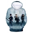 Cool 3D Figure Printed Long Sleeve Pullover Casual Drawstring Hoodie