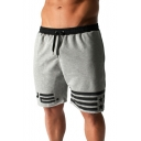 Summer New Stylish Stripe Print Frayed Trim Outdoor Fitness Breathable Running Sweat Shorts for Men